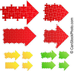 puzzle, vettore, frecce, pezzi