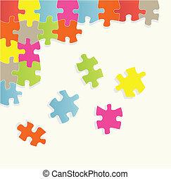 puzzle, vettore, illustrazione, fondo