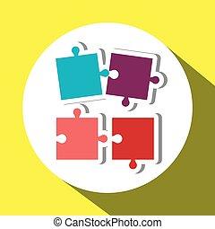 puzzle, vettore, lavoro squadra, disegno, illustrazione