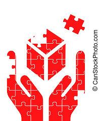 puzzle, vettore, mani