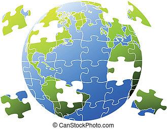 puzzle, vettore, mondo