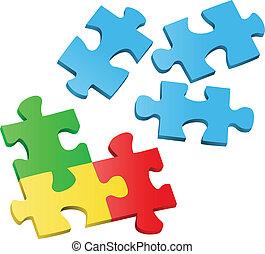 puzzle, vettore, pezzi