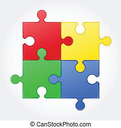 puzzle, vettore, quadrato, illustrazione