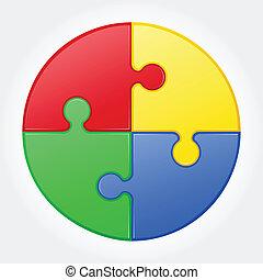 puzzle, vettore, rotondo, illustrazione