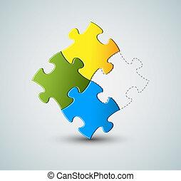puzzle, vettore, soluzione, fondo, /