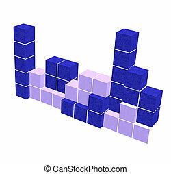puzzle video game - geometric blue 3D shapes