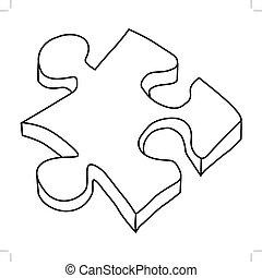 puzzle, vista, 3d