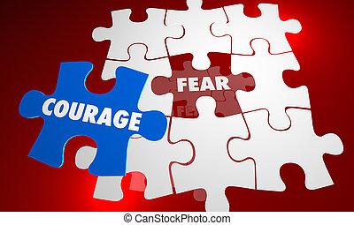 puzzle, vs, illustration, courage, mots, sans peur, peur, bravoure, 3d