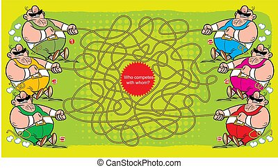 Puzzle maze with several athletes who pull the rope. Vector illustration for educational and entertainment programs for children.