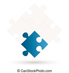 Puzzle with 4 parts and one option
