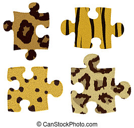 puzzle with animal fur isolated on a white