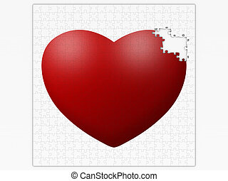 puzzle with broken heart isolated on white background