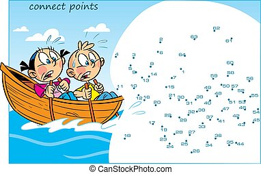 puzzle with children who are floating in a boat