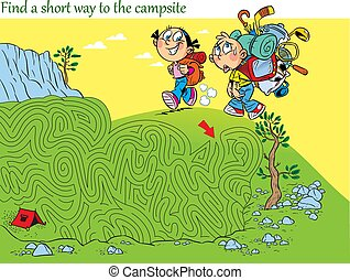 Puzzle with children who hike. You must find the right way in the maze and get to the camp.