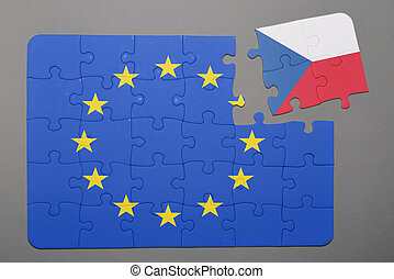 Puzzle with  flag of european union and czech republic piece detached.