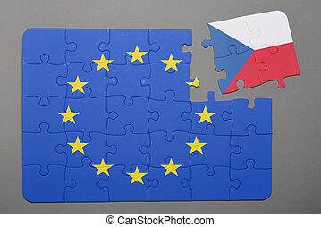 Puzzle with flag of european union and czech republic piece detached.
