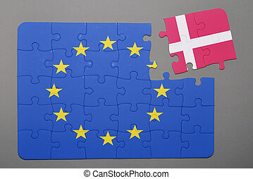 Puzzle with flag of european union and denmark piece detached.