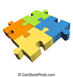 Puzzle with four parts - Teamwork symbolism