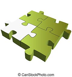 Puzzle with four parts - Teamwork symbolism