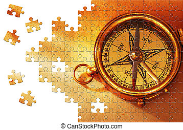 Puzzle with missing pieces - Puzzle Antique brass compass...