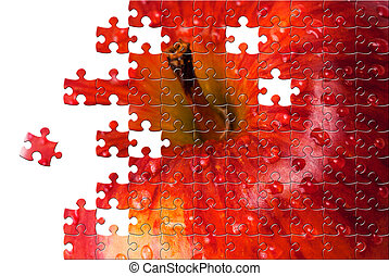 Puzzle with missing pieces - Puzzle Red apple with water ...