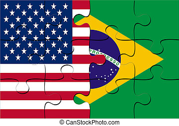 Puzzle with national USA and Brazil flag