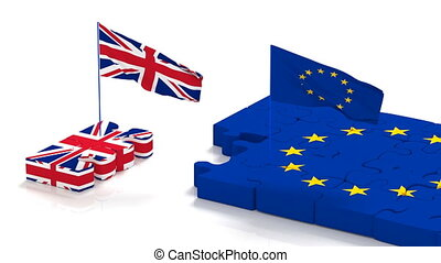 Puzzle with symbols of the European Union and the UK with developing flags