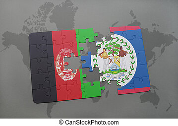 puzzle with the national flag of afghanistan and belize on a world map background.