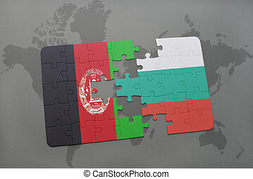 puzzle with the national flag of afghanistan and bulgaria on a world map background.