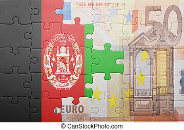 puzzle with the national flag of afghanistan and euro banknote