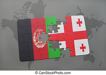 puzzle with the national flag of afghanistan and georgia on a world map background.
