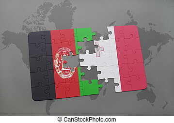 puzzle with the national flag of afghanistan and malta on a world map background.