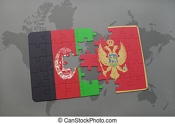 puzzle with the national flag of afghanistan and montenegro on a world map background.