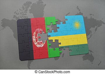 puzzle with the national flag of afghanistan and rwanda on a world map background.