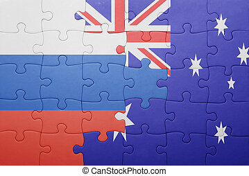 puzzle with the national flag of  and australia