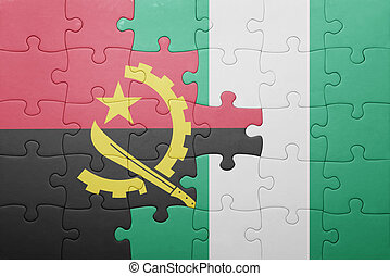 puzzle with the national flag of angola and nigeria