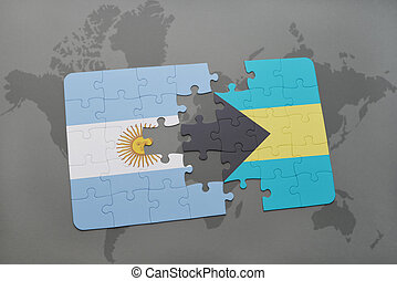 puzzle with the national flag of argentina and bahamas on a world map background.