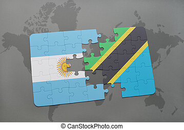 puzzle with the national flag of argentina and tanzania on a world map