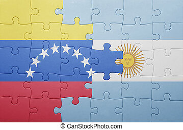 puzzle with the national flag of argentina and venezuela ....