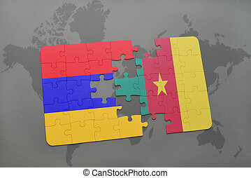 puzzle with the national flag of armenia and cameroon on a world map