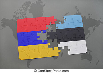 puzzle with the national flag of armenia and estonia on a world map background.