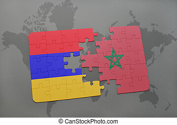 puzzle with the national flag of armenia and morocco on a world map