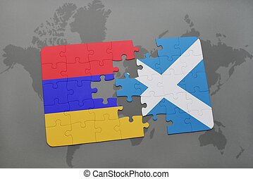 puzzle with the national flag of armenia and scotland on a world map background.