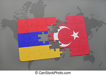 puzzle with the national flag of armenia and turkey on a world map background.