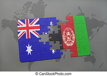 Waving flag of afghanistan and australia waving flag of clip art puzzle with the national flag of australia and afghanistan on a world map background gumiabroncs Image collections