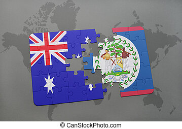 puzzle with the national flag of australia and belize on a world map background.