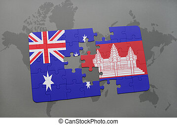 puzzle with the national flag of australia and cambodia on a world map background.