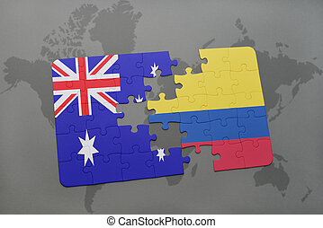 puzzle with the national flag of australia and colombia on a world map background.