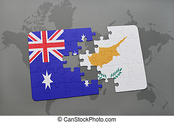 puzzle with the national flag of australia and cyprus on a world map background.