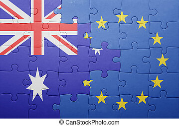 puzzle with the national flag of australia and european union